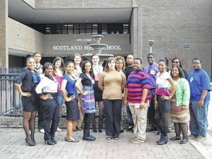Scotland High School FBLA Members, from left, (back row) Ryan Leak, Shyanne Pate, Holly Watts, Letitia Ortega, Melissa Banks, Chris Moss, Anthony McKoy, Mary John and Stephon Hailey (front) Victoria Jackson, Maya Addai, Lakeisha Douglas, Shaunee McLaurin, Elizabeth Lee, Javon Hailey, Imani McPhatter and Dee HarrisRead more: The Laurinburg Exchange - SHS celebrates FBLA Week