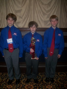 1st place Go-Green Manufacturing:  Dawson McQueen, Connor Stocks, and Drew Monroe