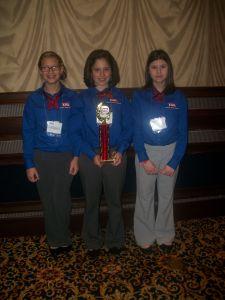 2nd place- Kylee Chavis, Katelynn Lopez, and McKenzie Moody